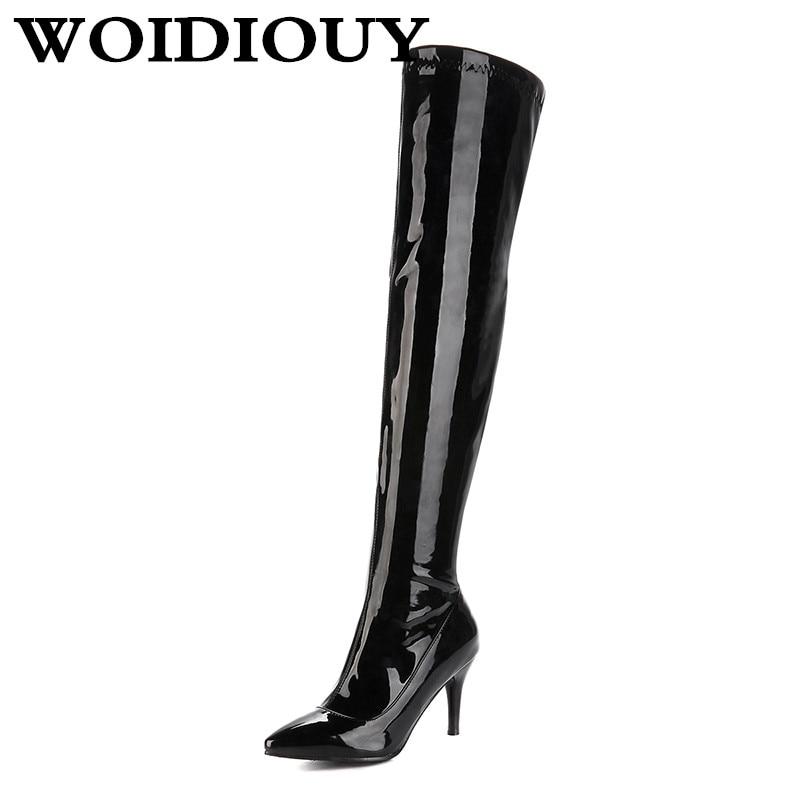 Women's High Boots Sexy Fine Patent Leather Slim Elastic Lady Female Zipper Soild Pointed Toe Tube Tip Nightclub Knee High Boots чехол для samsung s8530 wave ii palmexx кожаный в петербурге