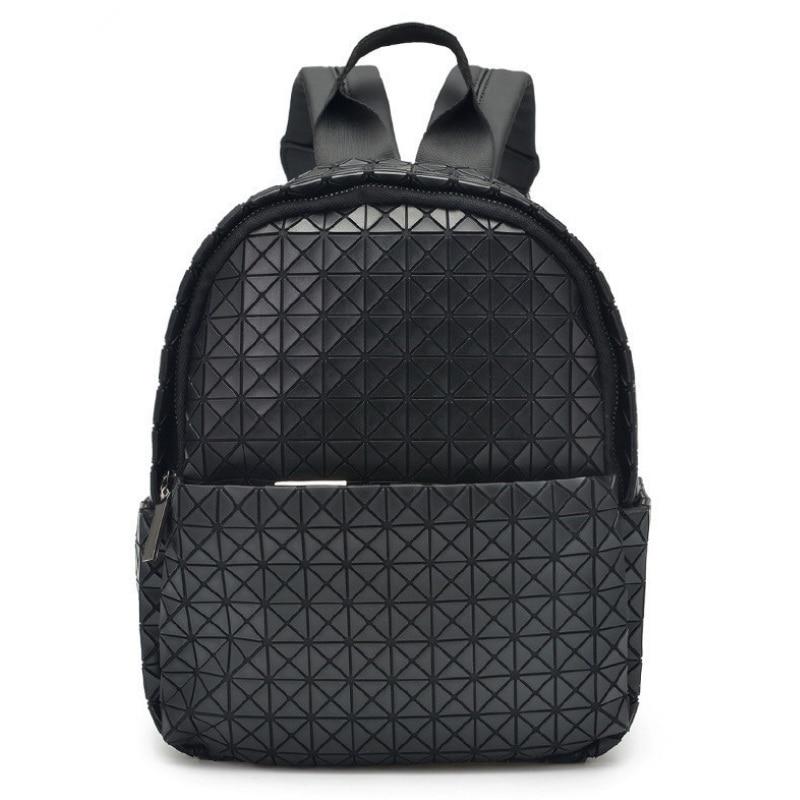 Femmes mode géométrique sac à dos femme diamant treillis sacs d'école pliant Laser Mochila filles hologramme sac à dos petit Bookbag