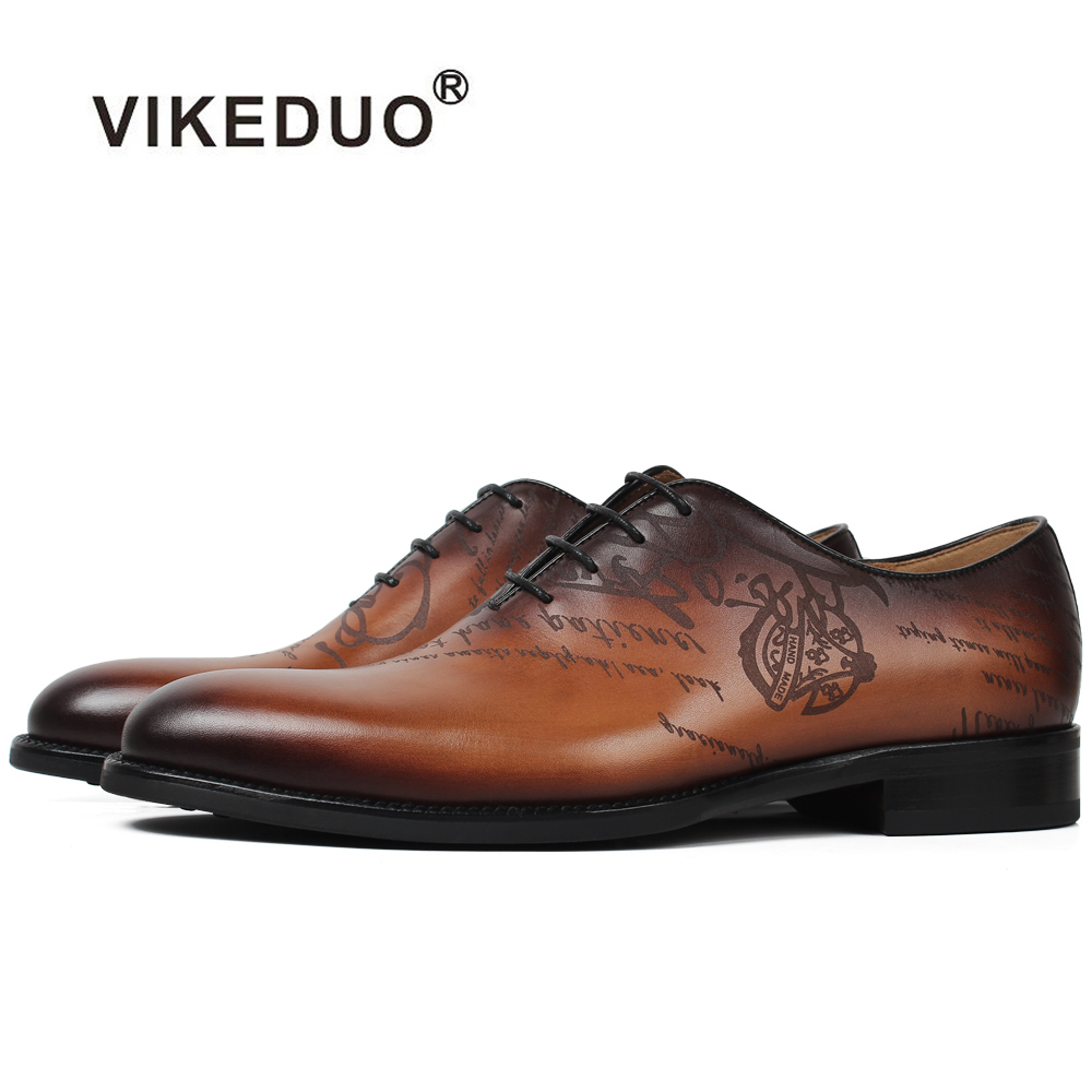 Vikeduo 2018 Vintage Formal Shoes For Men Brown Pattern Laser Male's Dress Shoes Wedding Office Handmade Blake Zapatos Hombre