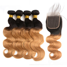 DreamDiana Remy Malaysian Ombre Blonde BodyWave With Closure 4 Bundles With Closure T1B/27 100% Ombre Human Hair With Closure(China)