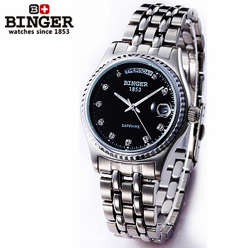 Top sale new arrival 2017 men Binger watches Luxury Mechanical Date Man Steel band Wristwatch waterproof black dial watch