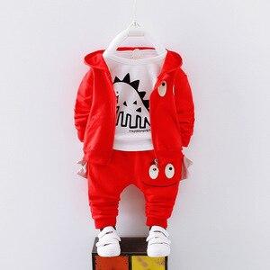 Image 4 - 男の子春の秋の服セット子供服綿カジュアルコート + トップス + パンツ 3 本ベベ男の子幼児スーツ