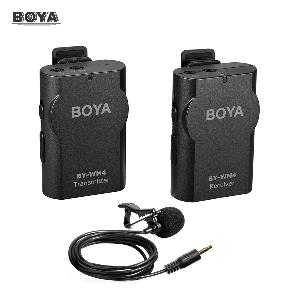 boya by wm4 2 4ghz wireless lavalier lapel mic microphone system for dslr camcorder for iphone 7. Black Bedroom Furniture Sets. Home Design Ideas