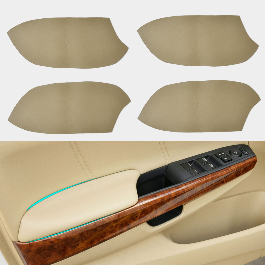 DWCX DIY 4Pcs New Beige Front + Rear Door Panels Armrest Skin Covers Leather For <font><b>Honda</b></font> <font><b>Accord</b></font> 2008 <font><b>2009</b></font> - 2012 Car Protection image