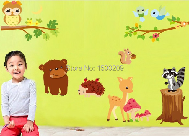 Cartoon Animals nursery wall decals kids room decor vinilos ...