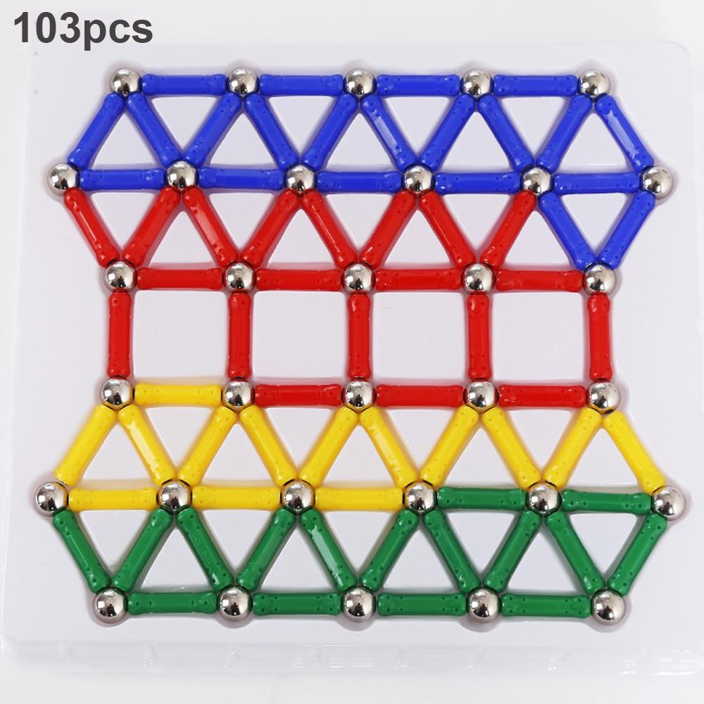 103-157pcs/set Magnetic Sticks Metal Balls Magnetic Building Blocks Construction Designer Intelligence Toys For Kids