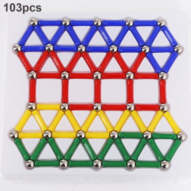 103-157pcs/set Magnetic Sticks Metal Balls Magnetic Building Blocks Construction Designer Intelligence Toys for Kids