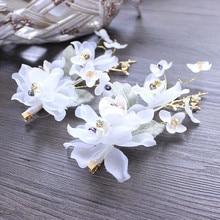 Beautiful White Flower Pearl Jewelry Charming Bridal Tiaras Pure Handmade Lace Wedding Hair Accessories Crystal Beads Headband