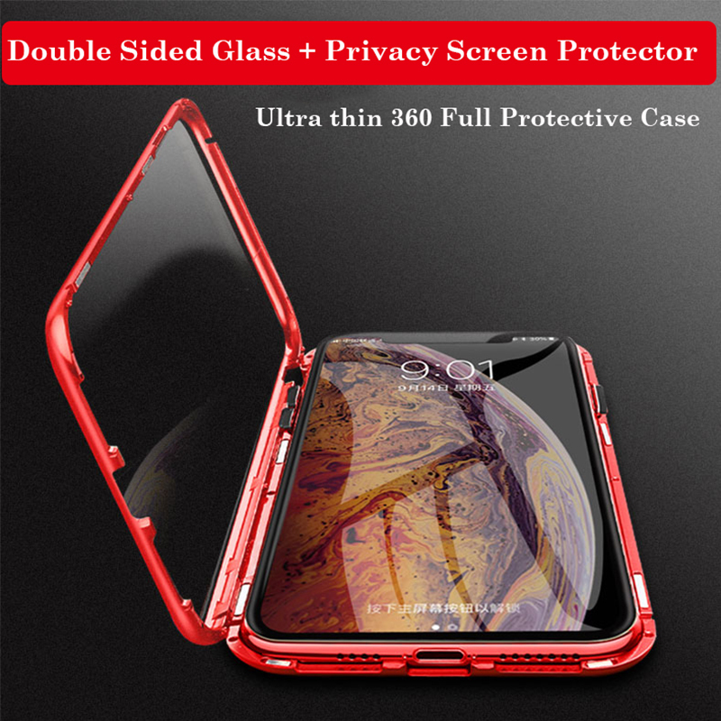360 Magnetic Privacy Screen Phone Case For iPhone XS MAX XR XS Case Luxury Aluminum Metal Bumper For iPhone 7 8 Plus Glass Cases in Fitted Cases from Cellphones Telecommunications