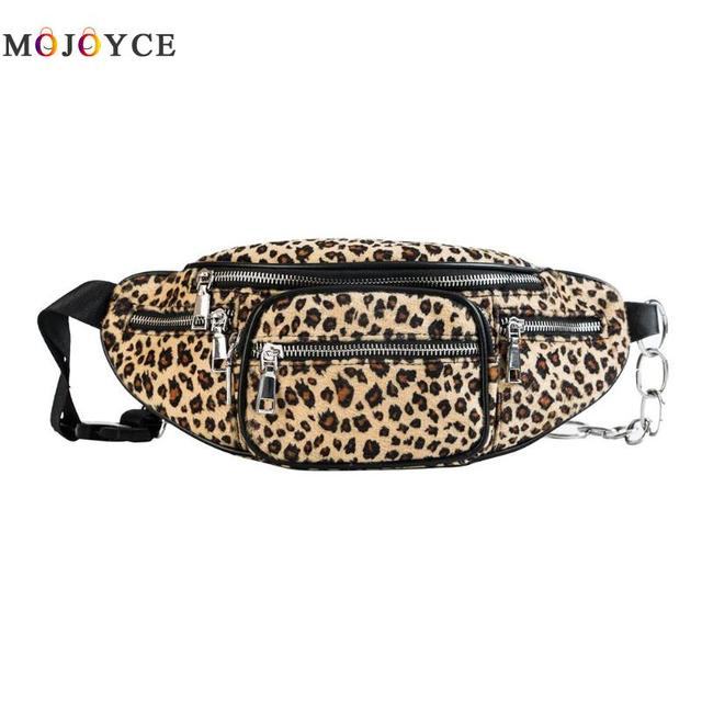 Mulheres de Impressão moda Leopardo Saco Da Cintura Multi-bolsos Viagem Mulheres Meninas Fanny
