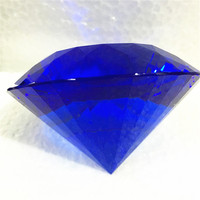 120mm Blue Shining Crystal Diamond Paperweight Crystal Souvenir For Wedding Decor Sweet Gift For Lovers 1pcs Multifaceted