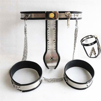 4in1 Chastity Belt with Thign ring Anal Plug Vagina Plug Chastity Devices Bondage Kits Metal Chastity Band G29Sex Toys for Women