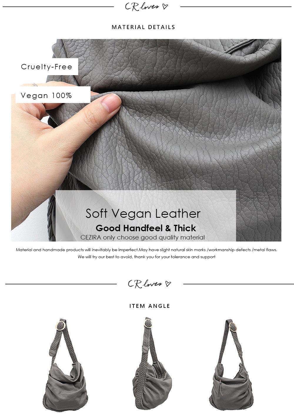 CEZIRA Big Soft Casual Women Bags Girl Wash PU Leather School Handbag Ladies Adjustable Woven Buckle Belt Messenger&Shoulder Bag 7
