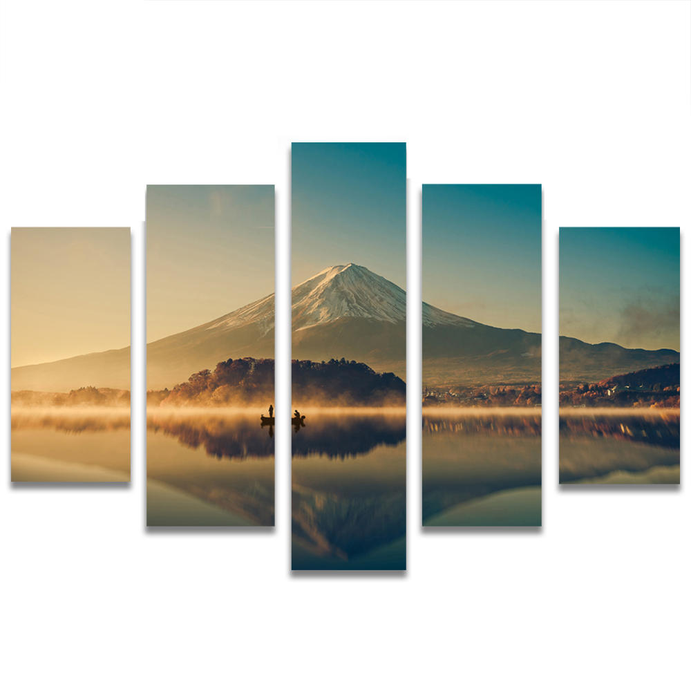 Unframed HD Canvas Painting Mount Fuji Dusk Lake Boat Picture Prints Wall Picture For Living Room Wall Art Decoration