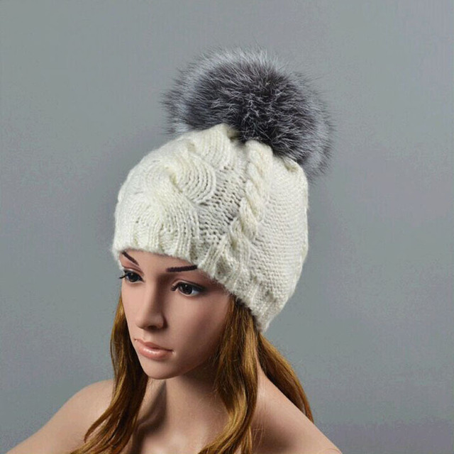 New Wool hat Men's and Women's Fashion Warm Autumn and Winter GE18cm FoxFur Ball Knitted Cap/Hat