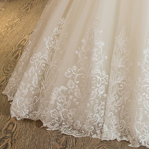 Image 5 - SL 5 Charming A Line Short Sleeve Tulle Lace Appliques Vintage Boho Wedding Dress