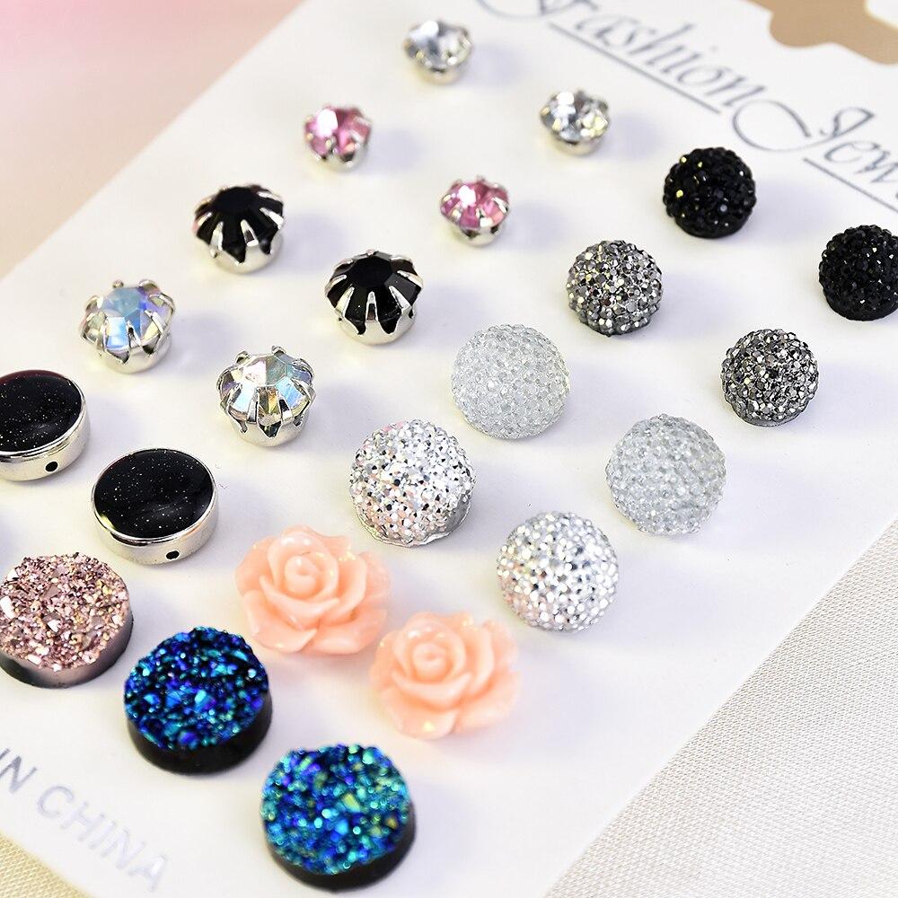 12 pairs/set Crystal 2019 New Fashion Earrings Set Women Jewelry Accessories Piercing Ball Stud Earring kit Bijouteria brincos(China)