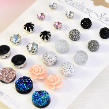 12 pairs/set Crystal 2019 New Fashion Earrings Set Women Jewelry Accessories Piercing Ball Stud Earring kit Bijouteria brincos(China)