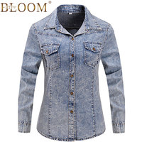 2017 New Denim Shirt Women Long Sleeve Turn Down Collar Blouse Snowflake Jeans Female Thin Jean