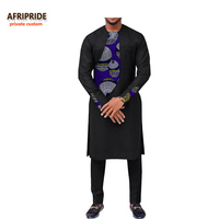 2019 spring new african clothing men's suit AFRIPRIDE long sleeve o neck knee length top+ankle length pants 100% cotton A731606