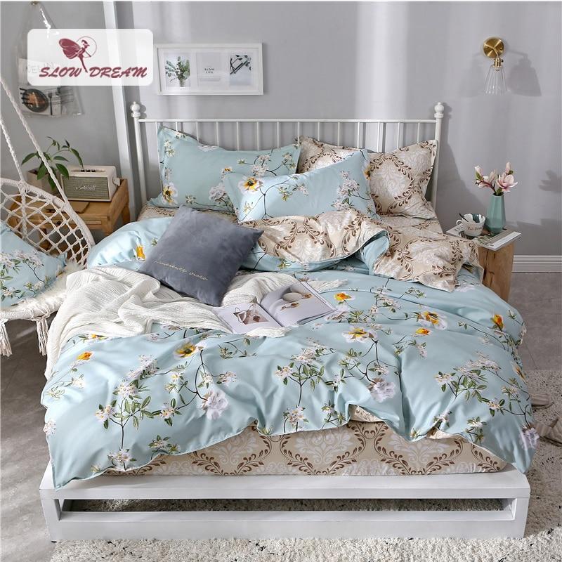 SlowDream Pattern Bedding Set 1 5 1 8m Bed Fitted Sheet Double Elastic Sheet Bedspread Duvet