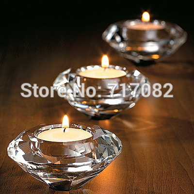 Gratis frakt! Bryllupsgaver, Crystal Diamond Shape Candle Holder for Borddekorasjon, 2 STK / MASSE