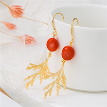 Youga New fashion earrings Red coral beads jewelry Elegant high-end womens Wedding Bridesmaids gift