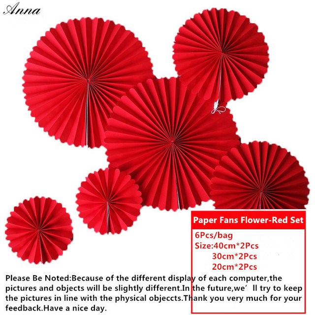 6pcs Set Round Patriotic Hanging Paper Fans Personalized Red Fan For Wedding Birthday Party