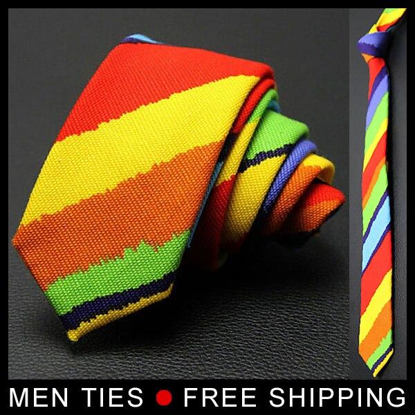 1 pc retail rainbow color Tie gay colorful neck tie peace lesbian pride Necktie High quality 5CM Drop shipping