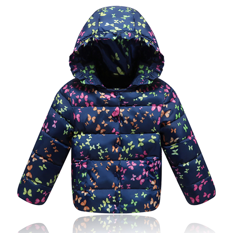 New Children Winter Thick Duck Down Jacket For Girls Outerwear Warm Hooded Collar Girl Winter Coats Print Down & Parkas