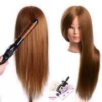 Обучающая голова куклы для парикмахеров 80% настоящие человеческие волосы Манекен Куклы блонд Цвет Профессиональная голова для укладки мож...
