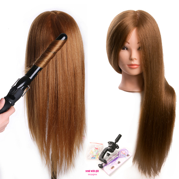 Training head dolls for hairdressers 80 % Real Human Hair Mannequin Dolls blonde color professional styling head can be curled 100% real human hair head dolls for hairdressers 16 brown training head professional mannequin with small clamp can be curled
