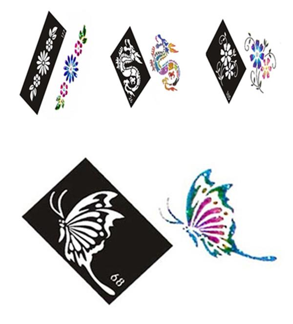 500 Mixed Design Sheets Stencils for Body Painting Glitter Temporary Tattoo Kit wholesale Free shipping