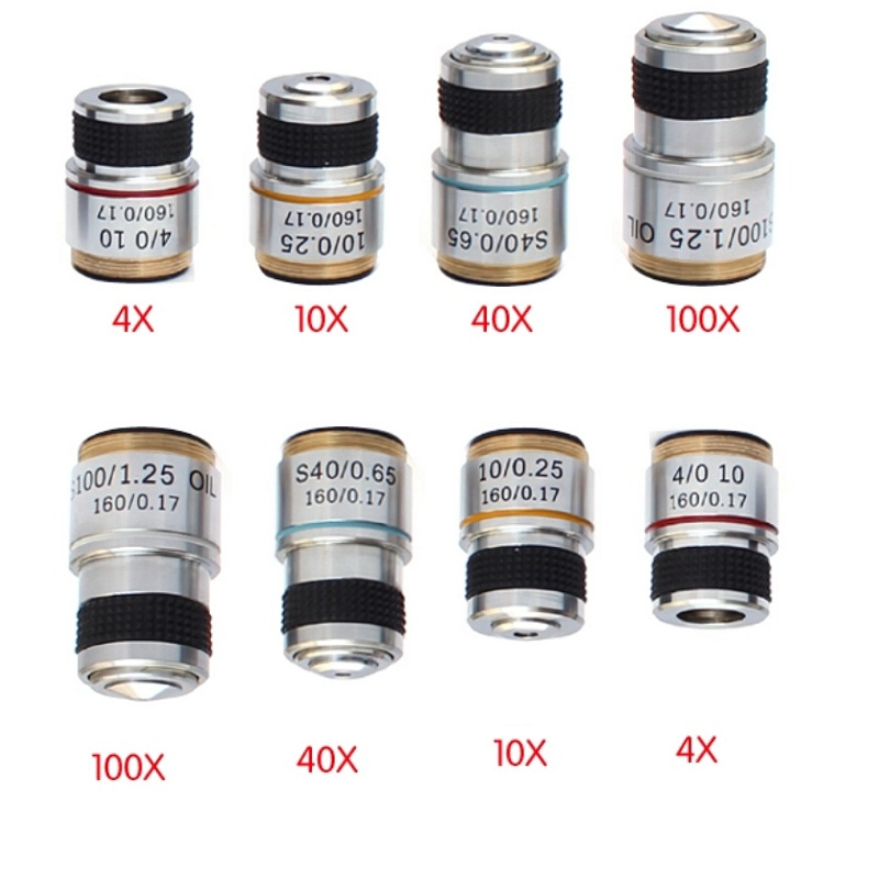 4x 10x 40x 100x 4PCS Biological Microscope Conjugate Distance 185 mm Achromatic Objective Lens with Thread Mouning Size 20.14 mm 4x 10x 40x 100x 4pcs biological microscope conjugate distance 185 mm achromatic objective lens with thread mouning size 20 14mm