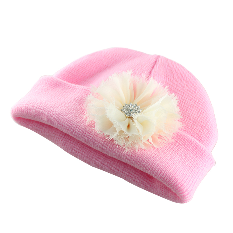 New 2017 Newborn Girl Pink Beanie with Pink Frayed Flower Nursery Hospital Hat baby hat new arrival lovely newborn hospital hat cute girls baby hats with flower bowknot flower hat high quality
