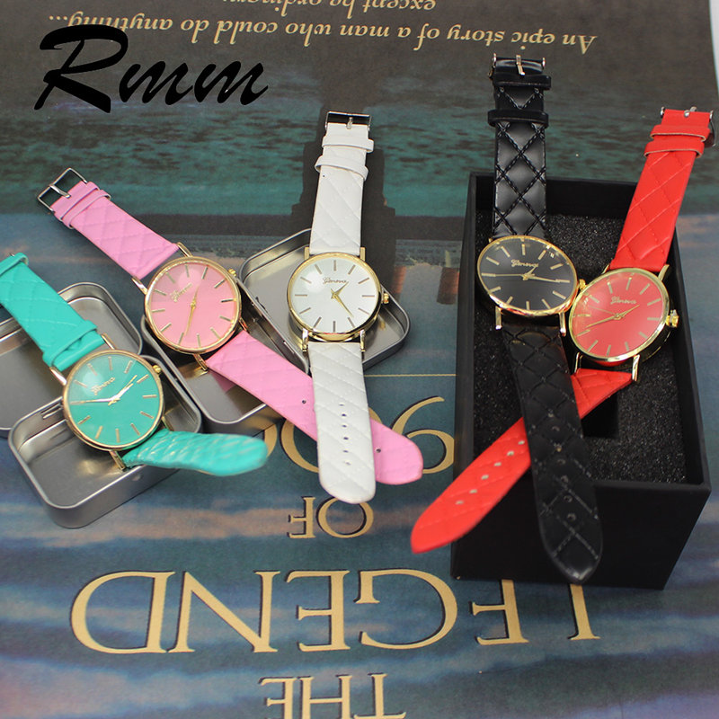 New Fashion Women's Watches Geneva 6 Color Leather Watchbands Simple Casual Quartz Wrist Watches Ladies Watch Wear Jewelry Gifts