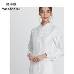 Medische toga vrouw Laboratoriumjas schoonheidsspecialist uniformen slanke jurk schoonheidssalon overalls witte Verpleegster Uniform