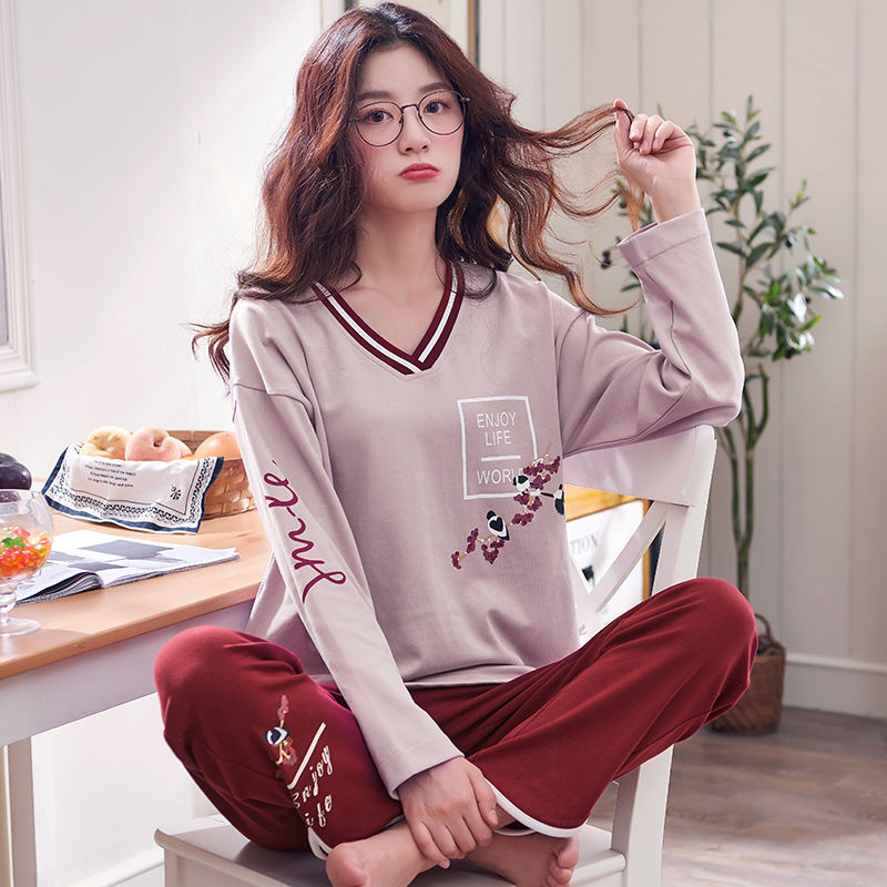 Women Clothes for Autumn winter Pajamas Sets O-Neck Sleepwear Lovely Rabbit Pijamas Mujer Long Sleeve Cotton Sexy Pyjamas Female 83