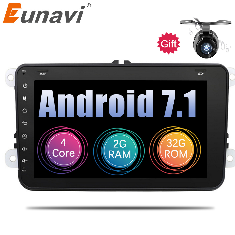 Eunavi 2 Din 8 inch Android 7.1 Car Radio Stereo for VW JETTA GOLF MK5 MK6 GTI PASSAT B6 POLO SKODA Fabia GPS Navigation PC wifi carbon fiber ignition switch decoration modified key hole for skoda octavia fabia yeti vw passat bora polo golf 6 jetta mk5 mk6