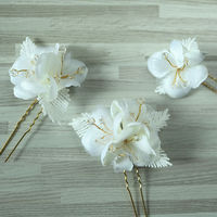White Bridal Hair Accessories Jewelry Sets Bridal Headpiece Hairpins Wedding Headdress Hairband Bride Hair Flower Band