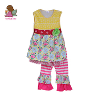Hot Sale 2017 Fashion Summer Children Clothing Sets Princess Boutique Outfits Floral Sleeveless Cotton Dress Ruffle Pants S105