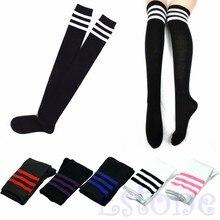 Women Sexy Stripe Cotton Over Knee Socks Thigh High Stockings Long Socks