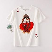 Playing Cards Harajuku T Shirt Women New Casual Short Sleeve Summer Tees Tops Loose Kawaii Print T-shirt Plus Size S-xxl Blusas все цены