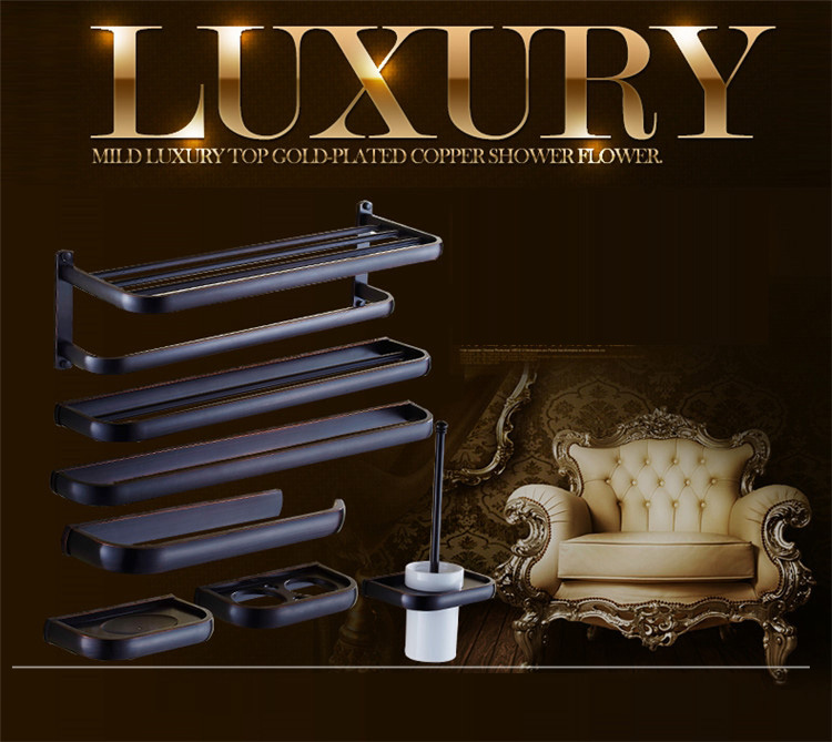 Luxury European style Antique Wall Mounted Black Brass Bathroom Wall Stand towel rack, shelf,storage,toilet Brush for Home the ivory white european super suction wall mounted gate unique smoke door