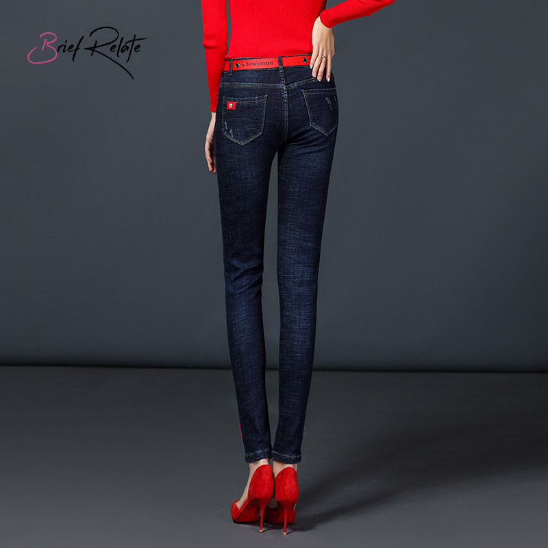 Brief Relate Full-length Mid-waist Pants Jeans Fluff Elastic Durable Warm Autumn Winter Skinny Pencil Washed Denim Women
