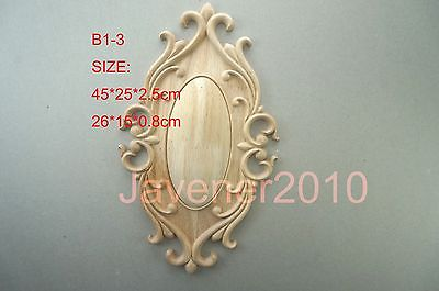 B1-3 -26x15x0.8cm Wood Carved Round Onlay Applique Unpainted Frame Door Decal Working Carpenter Decoration