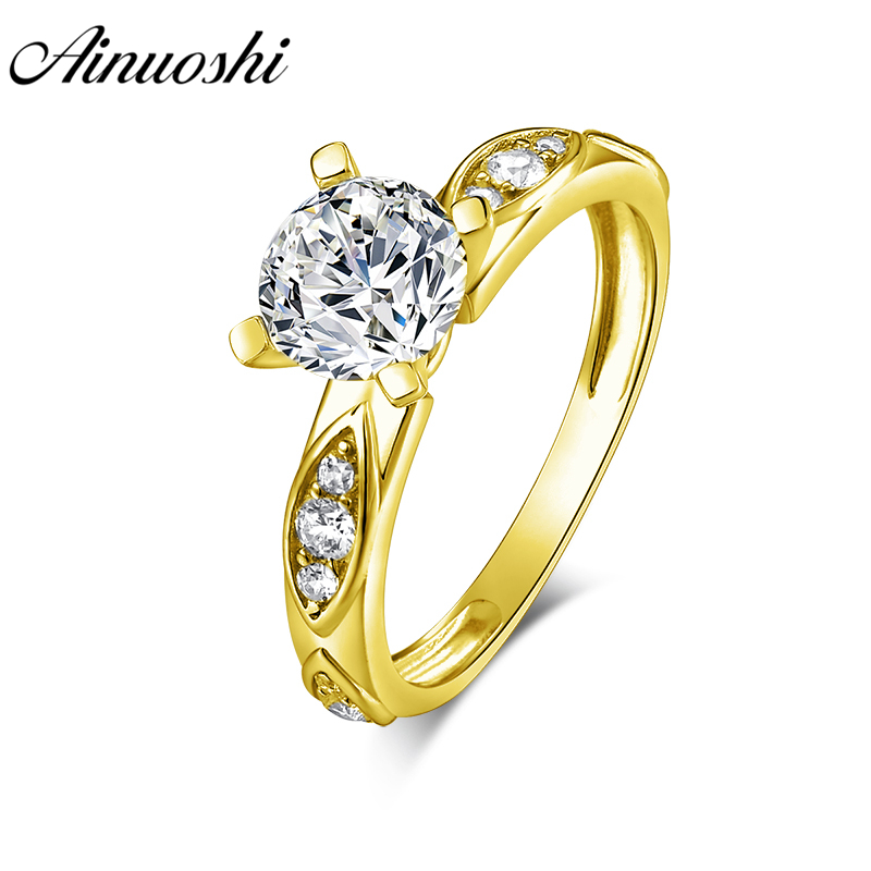 14K Yellow Gold Round CZ Stylish Solitaire Ring with Baguettes Size 4-10