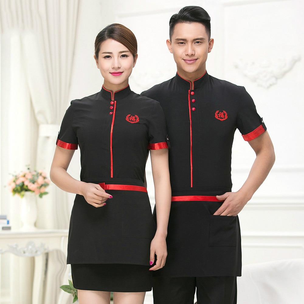 New Design High Quality Chinese Waiter Uniforms Hotel Waiter Clothes Summer Waiter Tops Restaurant Waiter Uniforms