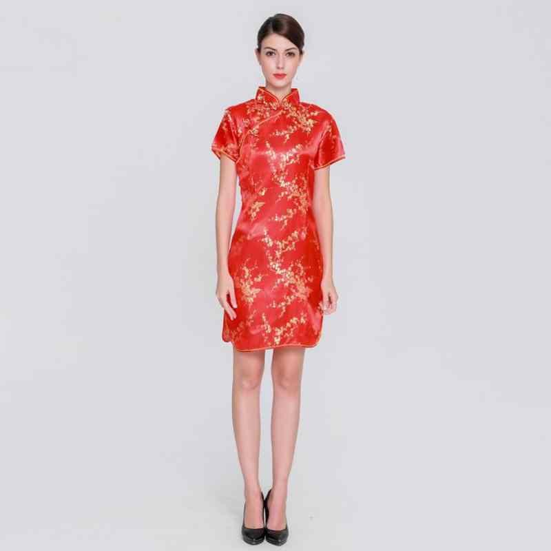 エレガントなスリムプラスサイズ袍 2019 新中国女性のレーヨンドレスマンダリンカラーヴィンテージチャイナドレス Vestidos S-3XL 4XL 5XL 6XL