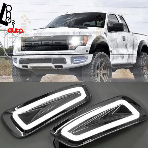 2x Driving Light LED Daytime Running Light Fog Lights DRL car styling For Ford F150 Raptor SVT 2009-2014 led day light hireno super bright led daytime running light for ford raptor f150 f 150 2010 2011 2012 2013 2014 car led drl fog lamp 2pcs